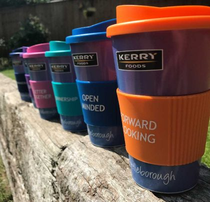 Travel mugs which carry company value colours