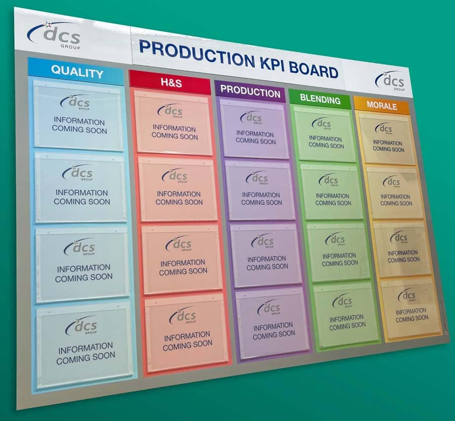 Production KPI Board with document holders