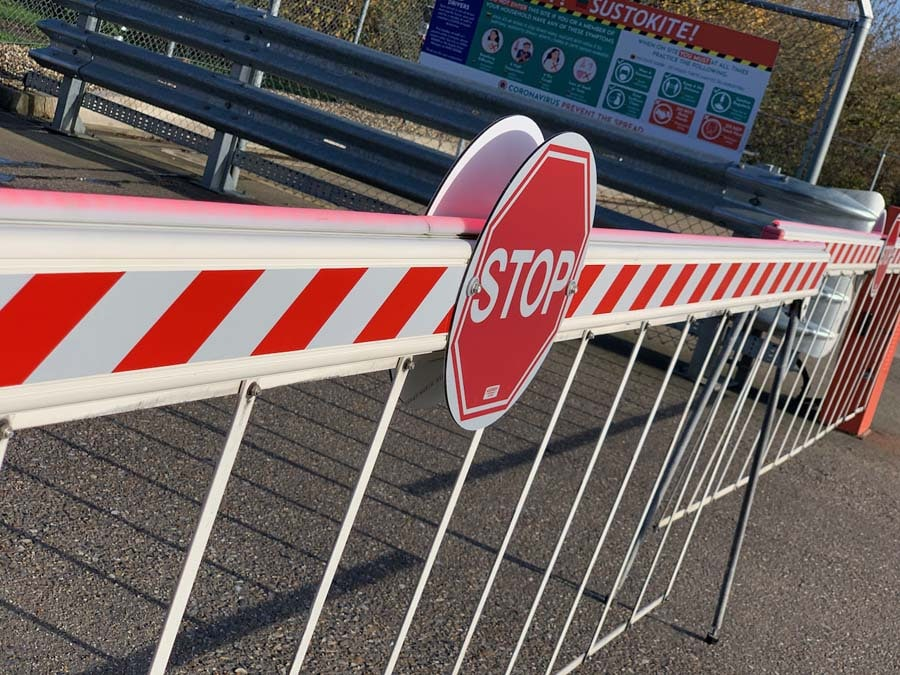 outdoor visual management stop barrier